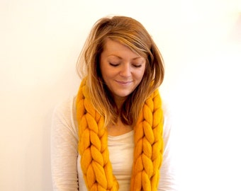 Amber Super Chunky Wool Hand-Knit Scarf