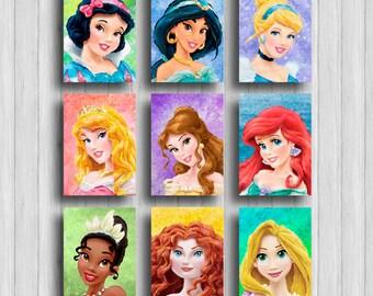 Disney Princess poster set of 9 :Snow White Jasmine Cinderella Aurora Belle Ariel Tiana Merida Rapunzel
