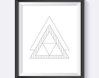 Triangle Print, Geometric Print, Geometric Wall Art, Line Art, Geometric, Minimalist,  Digital Print Wall Art, PDF