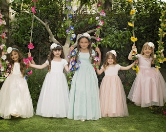 "Flower Girl Tulle Dress -- The ""Sarah"" in Apricot"