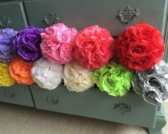 "SALE SUMMER 1 pc LOT 6"" Kissing Ball Pomander Flower Crystal Pew Wedding Silk Party Rose"