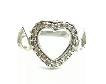 Vintage Sterling Silver Clear Gemstone Triple Heart Ring- Size 6