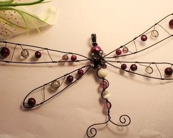 Dragonfly Ornament, Suncatcher - Purple/black/white/crystal