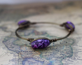 Purple Beaded Wire Bangles