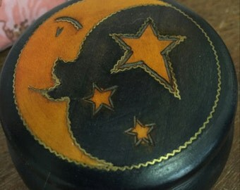 Celestial Moon and Stars Wooden Trinket Box