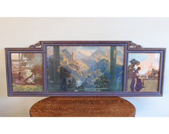 M5222 Original 1920's Maxfield Parrish Triptych Art Print Lithograph (Romance,Prince, Page) 1925