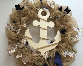 Small deco mesh anchor wreath **FREE SHIPPING!!!!**