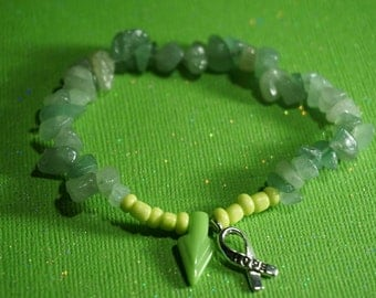 Item #8, Green Aventurine, Bracelet, Crystal, Lyme Disease, Lyme Awareness Jewelry, Arrowhead, Lyme Warrior