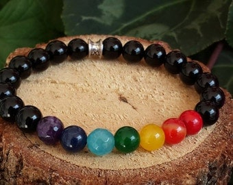 Chakra Bracelet, For Men, Meditation Bracelet, Crystal Healing Bracelet, Energy, Balance, Rainbow, Yoga, Mala, Jewelry