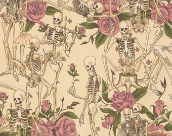 Skull and Skeleton fabric Life's Little Pleasures. SK099