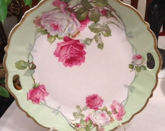 Bavaria plate, charger, with hand painted roses