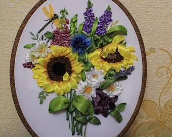 Picture 3D. Bouquet of wildflowers with sunflowers. Embroidery satin ribbons. Custom order for Marina.