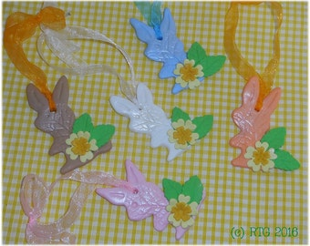 Primrose rabbit tree hanging decorations - springtime celebrations