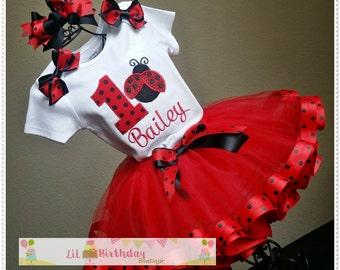 Lady Bug Birthday TuTu and hair Bow Set; 1st Lady Bug Smash Birthday TuTu Set;1st, 2nd, 3rd, 4th  or 5th Birthday