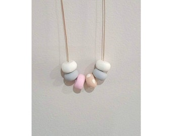 Polymer Clay Necklace - Pink Spots