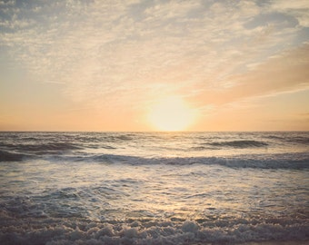 Ocean Photography Print - Nautical Decor - Ocean Waves - Ocean at Sunset - Nature Photography - Sun Room Wall Art - Kitchen Decor - Bedroom