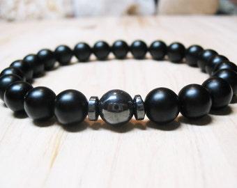 Mens Bracelet Black Onyx Bracelet Hematite Bracelet Energy Bracelet Protection Bracelet Power Bracelet Root Chakra Bracelet Spiritual