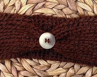 Brown Crocheted Earwarmer Alpaca Wool and Acrylic