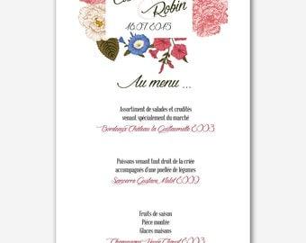 Menu wedding oldschool - floral - vintage