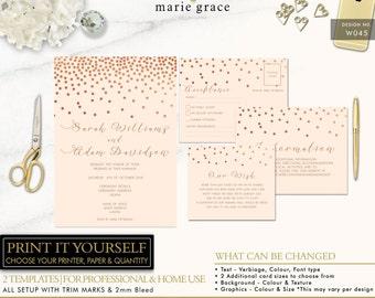 Confetti Wedding Invitation, Rose Gold Wedding Invite, Pretty Invitation Templates