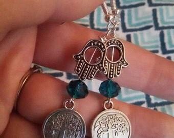 Blue Hamsa and Tree of Life Earrings