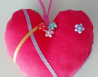 Pretty Pink Fabric Hanging Hearts