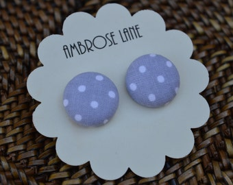 Button Earrings Gray and White Polka Dot, 3/4""