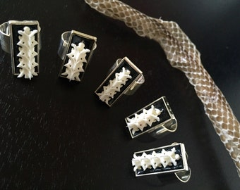 Snake Spine Ring: Silver Plated Ring featuring Cotton Mouth Vertebrae Handmade Gothic Jewelry
