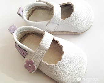 Leather Baby Shoes/ Soft sole shoes/Strappy White/First walking shoes