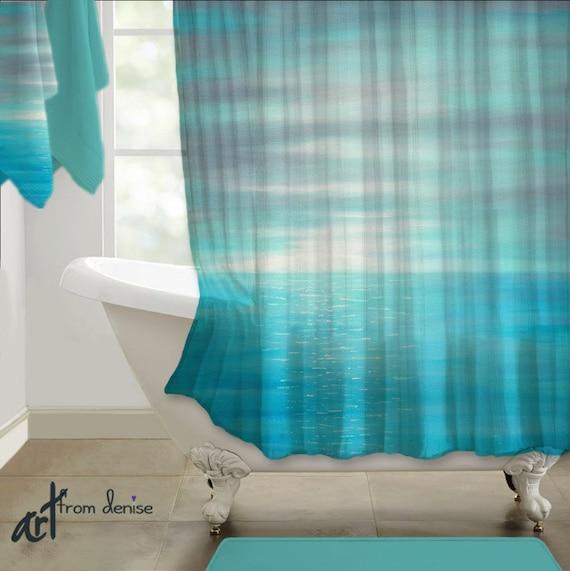 teal blue gray shower curtain art bathroom decor coastal. Black Bedroom Furniture Sets. Home Design Ideas