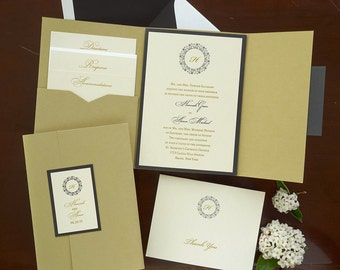 Hannah Folio Pocket Invitation Set - Thermography Wedding Invite - Classic Wedding Invite - Wedding Invite Suite - AV6125