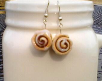 Cinnamon bun dangle earrings