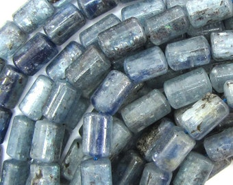 "12mm blue kyanite cylinder beads 15.5"" strand 33414"