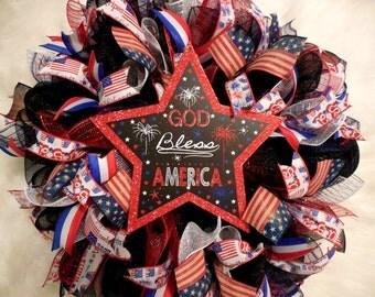 Summer Wreath, Fourth of July Wreath, Fourth Of July, 4th of July Wreath, 4th of July, July 4th Wreath