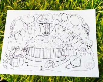 Colouring posters from original hand drawn artwork - birthday, places, easter