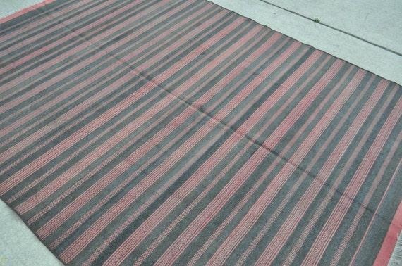 Vintage Balkan Kilim rug - 6'0 x 8'6 - Striped Kilim - Free shipping!