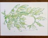 Green Leafy Seadragon Watercolour Nautical Marine Illustration - Gift Card