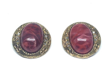 Gorgeous Vintage Estate Red Cabochon Swirl Gold Tone Clip Earrings Christmas Present - Holiday Gift