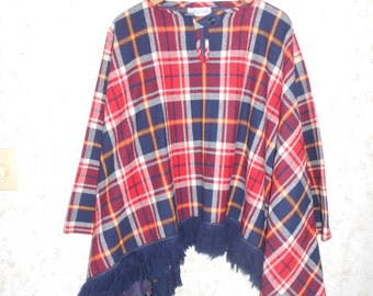 Vtg 60s 70s Red Blue Tartan Plaid Poncho Cape Wrap Boho Hippie Preppy Bobbie Brooks Fringed Wool Poncho Made In USA One Size