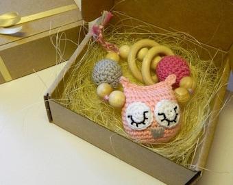 Pink organic baby rattle. Pink owl baby rattle. Crochet owl teething toy. Sleeping owl rattle. Gift for baby girl. Christmas gift