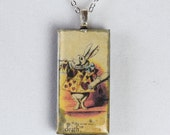 Alice in Wonderland White Rabbit Resin Pendant with Chain