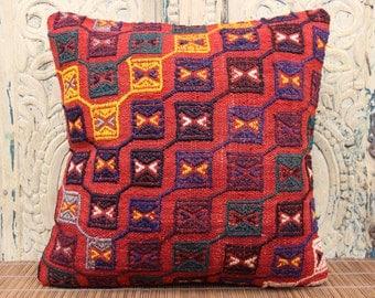 Decorative kilim pillow cover 16x16 inches Turkish kilim pillow cover Sofa Decor Rustic pillow Ethnic pillow Accent Pillows SKK-1186