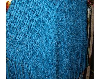 Alpaca Hand-woven Shawl Blue