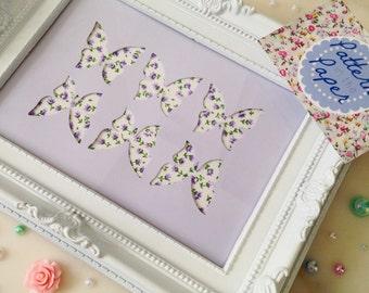 5x7 Butterfly Frame, Handmade Papercut Home Decor Gift