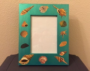 Blue Seashell wood picture frame