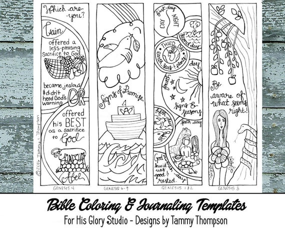 Genesis Chapters 1 9 16 Bible Journaling Black And White