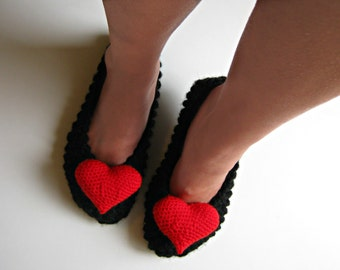 Women's Slippers, Knitted Slippers, Ballet Flats, Valentines Heart, Chunky Knit, House Shoes, Christmas Gift, Gift for Her, Womens Gift