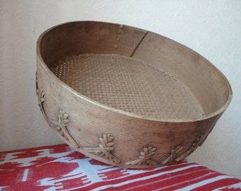 Antique wooden sieve  Wooden strainer Rustic colander Rustic sieve Antique colander Decorative strainer Decorative sieve