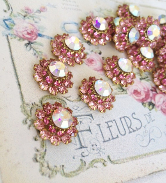 4 sweet sparkly swarovski rose pink and AB crystal brass setting flowers #1200-9