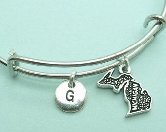 Michigan charm bangle bracelet, personalised initial bangle, letter, personalised charm